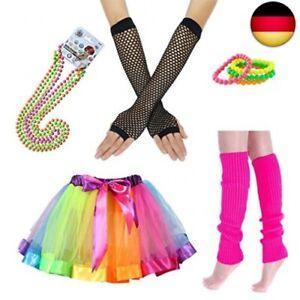 iLoveCos 80er Party Kleid Zubehör Regenbogen Neon Erwachsener Tutu