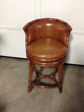 3 Frontgate Bali Woven Swivel COUNTER bar Stool Seat Height Natural and Leather