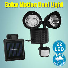 22 LED Adjustable Dual Solar Powered Garage Motion Sensor Security Flood Light