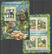 ST329 2016 SIERRA LEONE FLORA SCOUTING AND MUSHROOMS KB+BL MNH STAMPS