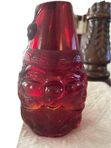 Early Fenton Red Amberina Santa Fairy Lamp Candle Holder Original Sticker