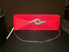 Evening Red Clutch With Silver Jewel Accent.