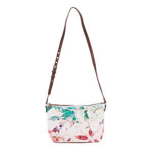 DESIGUAL Crossbody Bag Grainy PU Leather Floral Pattern Adjustable Strap Zipped