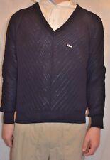 FILA VINTAGE SWEATER NAVY ICONIC V NECK 100% wool size 12 M