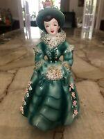 Vintage 1955 Geo Z Lefton Suzette 8 inch Green Victorian Woman Figurine