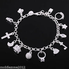 High Quality Latest Gift Fashion Jewellery Charm Silver Bracelet with gift bag