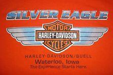 Harley Davidson Motor Cycles Silver Eagle Waterloo Iowa T-Shirt Mens XL 46/48