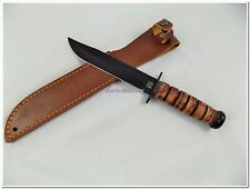 High Quality USMC WW2 US Army Attack Knife with Leather Sheath  - Repro - New