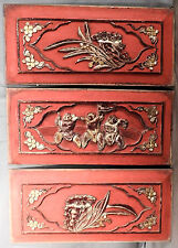 3 Antique Carved lacquer camphor Wood Oriental Chinese Red Panels Architectural