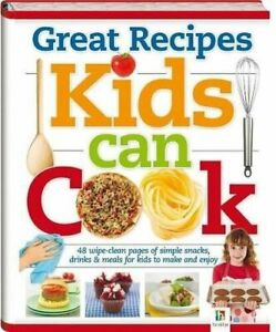 Children's Kids Cookery Book, Kids Can Cook, Hardback 48 Wipe Clean Pages