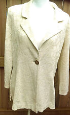 Misook Jacket Ivory gold 1 Button Closure Tailored Fit Wrinkle Free Large NWT