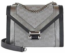 NEW Michael Kors Whitney Large Metallic Logo Jacquard Convertible Shoulder Bag