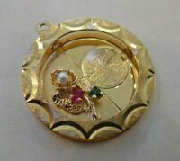 Vintage 14k A DATE TO REMEMBER Bracelet Charm PEARL RUBY EMERALD 4.2 Gr #20036D