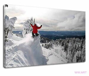 Extreme Snowboarding At Top Of Mountains In Winter Canvas Wall Art Picture Print