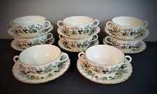 8 Cream Soup & Saucer Sets Lavinia Cream Color Bone China by Royal Worcester