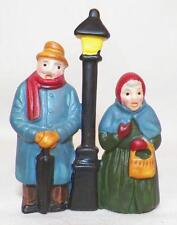 Man & Woman Christmas Caroling Figurine Bisque Miniature for Village Display