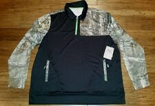 RealTree Xtra 1/4 Zip Pullover Long Sleeve Size 2XL Polyester Black Green Camo