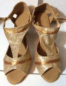 Women's Salsa Ballroom Tango Dancing Dance Shoes - Size 6 Copper/glitter Satin