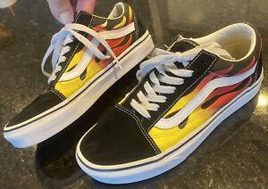 Vans OLD SCHOOL Flames Low Top Sneakers Black Orange LaceUp Mens 5.5/ Womens 7
