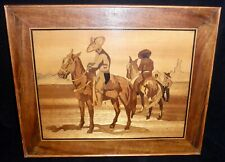 vintage marquetry picture with southwest cowboys and horses