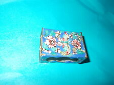 Antique Chinese Match Box Cover Blue Cloisonne On Copper - Floral & Butterfly