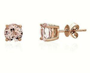 1.25 ct.  Peach Morganite Round Basket Set Stud Earrings -14k Rose Gold/Sterling