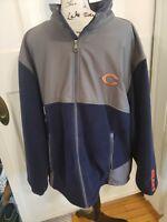 NFL Chicago Bears NFC logos Full Zip Fleece Blue Gray Jacket. Size 2XL men's