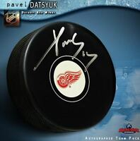 PAVEL DATSYUK Signed Detroit Red Wings Puck - Medium Silver