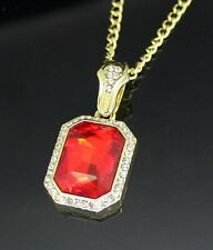 Womens Gold Stainless Steel Elegant Prong Set Large Ovel Ruby Red CZ Ring #DR89