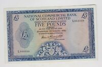 P272a NATIONAL COMMERCIAL SCOTLAND 5 POUNDS 1966 BANKNOTE IN NEAR MINT CONDITION