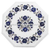 """12"""" Marble Side Table Top Real Lapis Lazuli Floral Inlaid Mosaic Furniture H3043"""