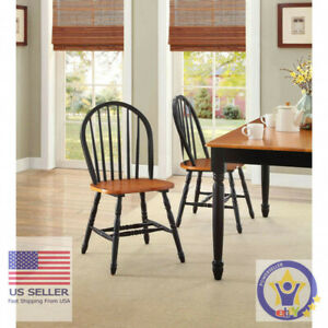 Better Homes and Gardens Autumn Lane Windsor Chairs Set of 2 Farmhouse Black Oak