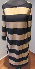 Women's Old Navy Stretch Dress, Black and Tan Striped L