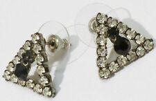 boucles d'oreilles percées bijou triangle cristaux noir et diamant * 5219