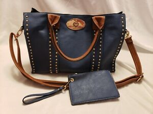 Preowned Blue and tan genuine leather purse VERY NICE BAG SEE PHOTOS VERY CLEAN