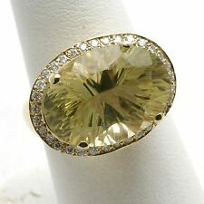 NEW 14k yellow gold lemon lime Citrine yellow Diamond ring Vintage