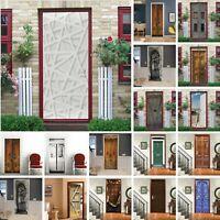 Rustic Wood Door Waterproof Wallpaper 3D Door Sticker Wall Fridge Decals Mural