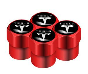 Tesla Model 3 S X Roadster Aluminum Valve Cap RED Wheel Tyre
