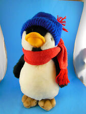 "Carousel by Guy Penguin Plush Red scarf blue winter hat 11"" Vintage 1983 Korea"