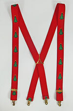 Christmas Tree Suspenders Braces CAS West Germany X-Back Clips Holiday