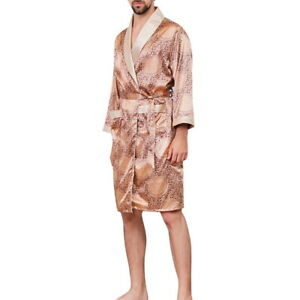 Men's Long Sleeve Robo Pajama Nightwear Nightgown Sleepwear Satin Bathrobe A/5