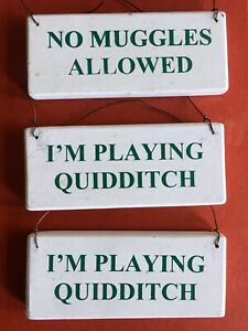 HARRY POTTER QUIDDITCH MUGGLES WOODEN WALL HANGING PLAQUE SIGNS USED JOB LOT x3