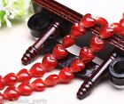 10pcs 16x14mm Exquisite Heart Lampwork Glass Finding Loose Spacer Beads Red New