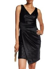 Vera Wang  wrap V-Neck Cocktail Dress black stretch satin sz 6 S-M NEW