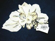 David's Bridal Floral Silver & White Rhinestones & Pearls Hair Clip New In Box