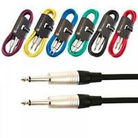Guitar Lead 6.35mm Mono Jack to Jack / Instrument Cable / Patch Lead / 6 Colours