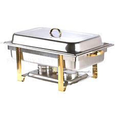 Deluxe Full Size 8 Qt Gold Accent Stainless Steel Buffet Chafer Chafing Dish Set