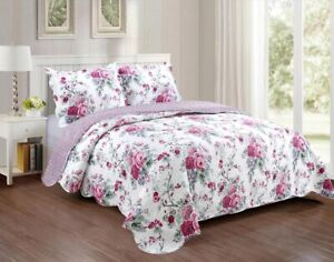 KARO FLOWERS PINK REVERSIBLE BEDSPREAD QUILTED SET 3 PCS QUEEN SIZE
