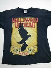 Vintage HOLLYWOOD UNDEAD Rock Distressed Black Faded Rock Band T-Shirt Size L