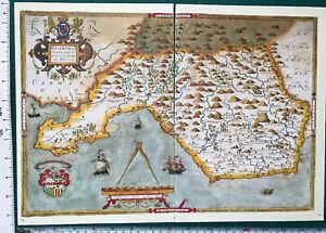 Old Tudor Saxton 1500's Map Glamorgan Wales 1578 Antique Historical Reprint